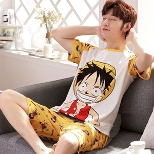 Image 5 - Yidanna cartoon short sleeve pajamas set for men minions sleepwear plus size pyjamas cotton nightwear O neck homedress in summer