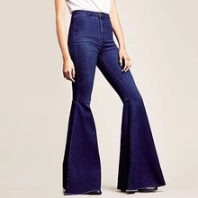 цена Jeans Woman High Waist Flare Pants Skinny Bell Bottom Trousers Casual Long Denim Pants 2019 Blue Black OL Street Fashion Elegant