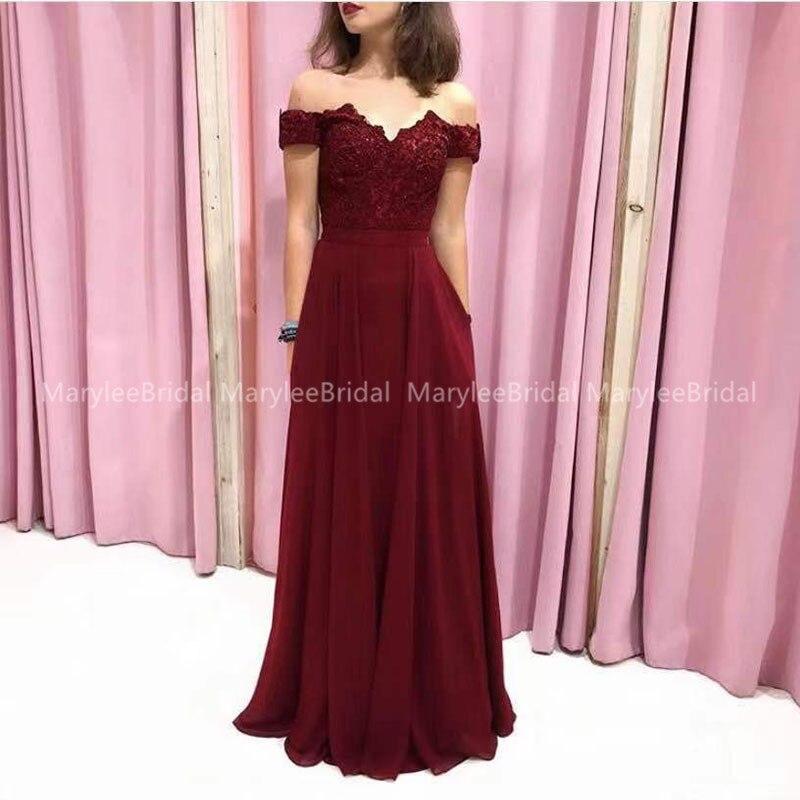 2020 Off The Shoulder Evening Dress Appliques Top Chiffon Skirt Burgundy Prom Dress Long Lace Up Back vestidos de festa longo