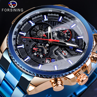 Forsining Creative Full Blue Mechanical Watches Men's Automatic 3 Sub Dial Date Male Sport Business Steel Band Saat Reloj Hombre