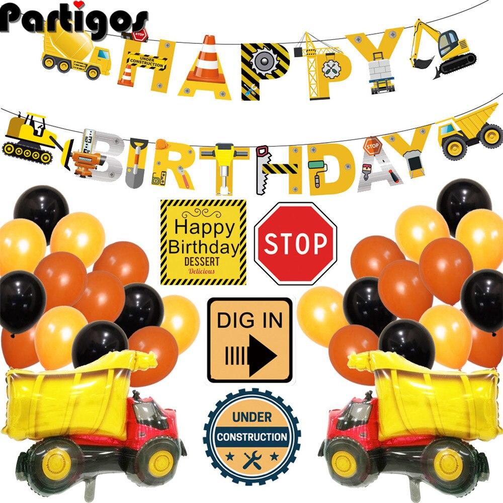 1 комплект экскаватор надувные шары строительного трактора мяч грузового вездеходного баннеры Baby Shower детский день рождения, день рождение ...