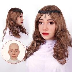 Máscara de silicona femenina Realistis de Crossplay sombreros de color para travestis transgénero de Halloween Cosplay