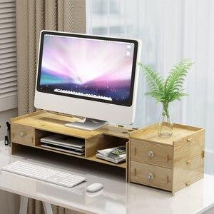 Деревянная подставка для монитора, креативная подставка для клавиатуры и мыши, органайзер для стола, настольная стойка для хранения, ящик д...