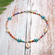 Bohemian Colorful Seed Beads Choker Starfish Women Fashion Cowrie Shell Pendant Necklace Initial