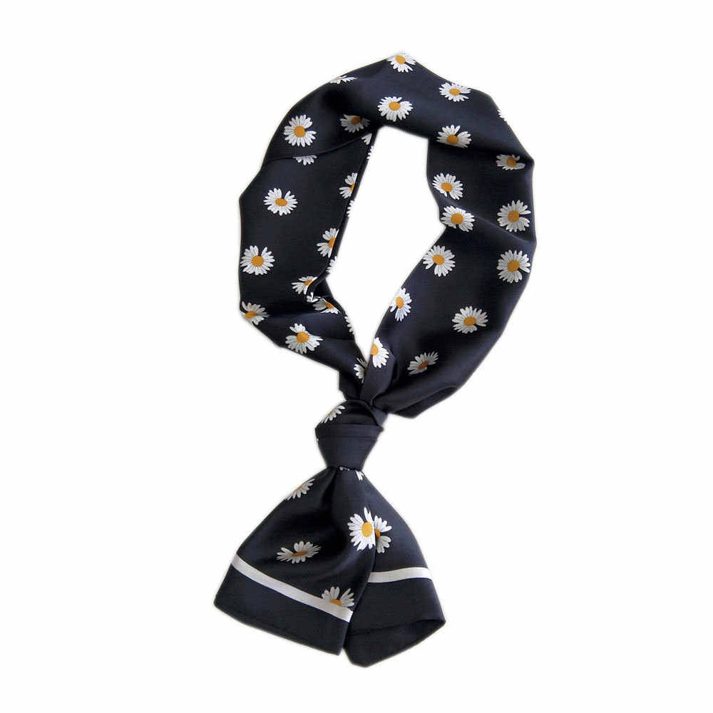 Bandana silk scarf handkerchief Small daisy chrysanthemum design women's neck scarves fashionable 2020 hanbag scarf for ladies