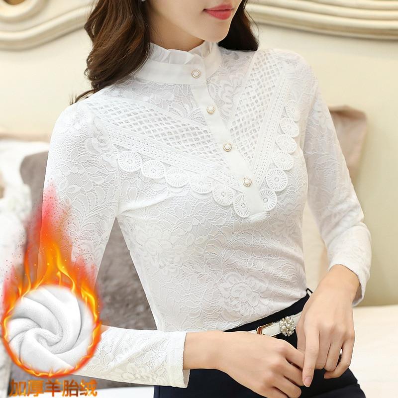 2019 Casual winter Autumn High Collar ruffless Lace Blouses Women Ladies Tops Lace Women Blouses Long Sleeve Shirt plus size 3XL 7