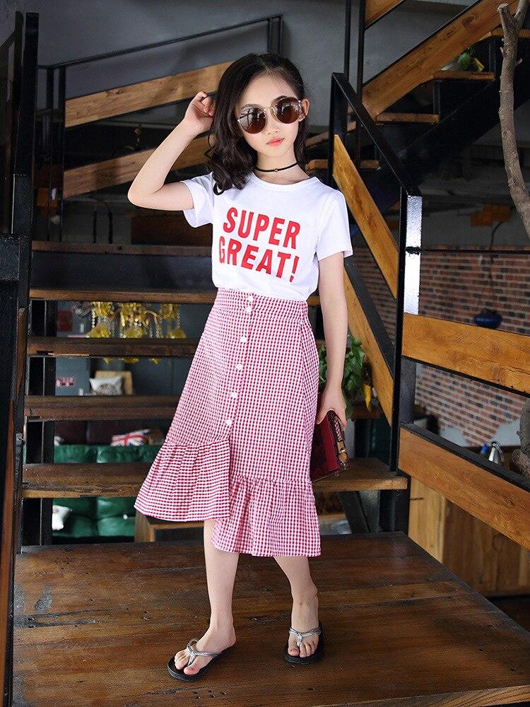 Filles filles 2019 vêtements d'été nouveau Style enfants à manches courtes ensemble de vêtements costume jupe grand garçon style coréen Style occidental décontracté