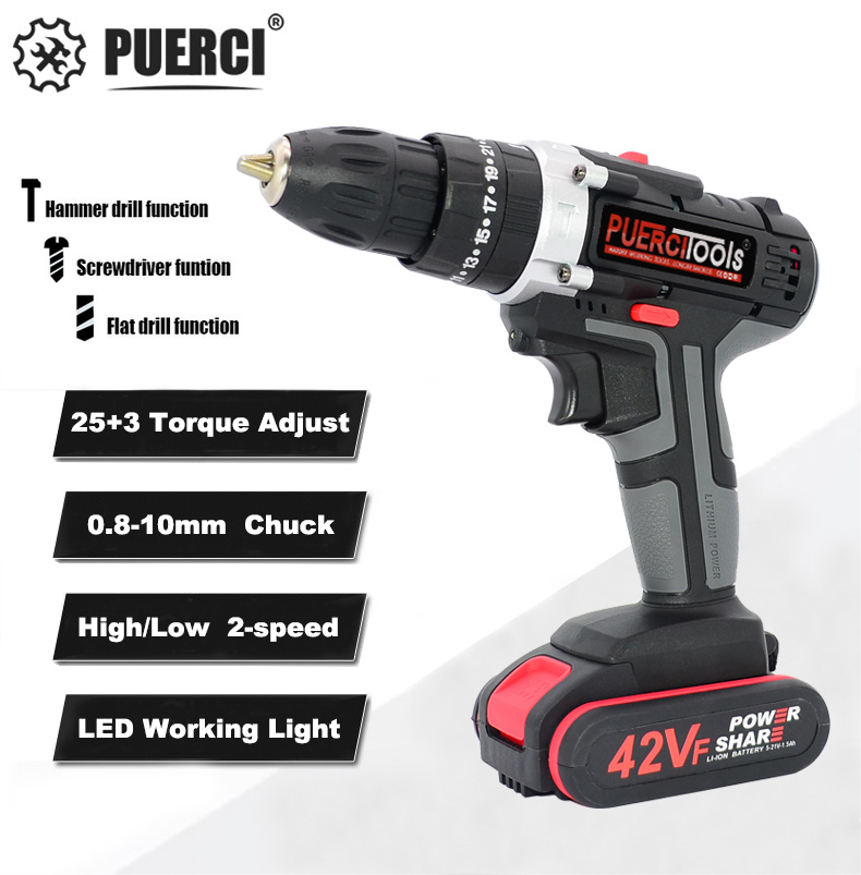 PUERCI 21V Electric Screwdriver Cordless Drill Impact Drill Power Driver DC Lithium-Ion Battery 38N.m 2-Speed Power Tools