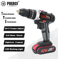 PUERCI 21V Electric Screwdriver Cordless Drill Impact Drill Power Driver DC Lithium Ion Battery 38N.m 2 Speed Power Tools