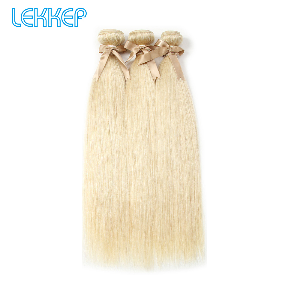 Lekker Hair Peruvian Straight Hair 613 Honey Blonde Bundles 3 4 Remy Hair Weaving Human Hair Bundles 10-26 Inch Free Dyeing