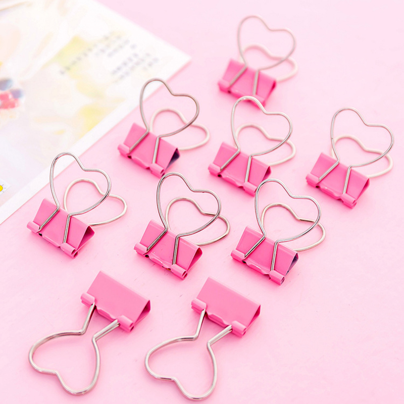 10pcs new paper clips Cute Pink Clips Heart Hollow Out Metal Binder Stationery Chancery Notes Letter Photo Agenda office schools