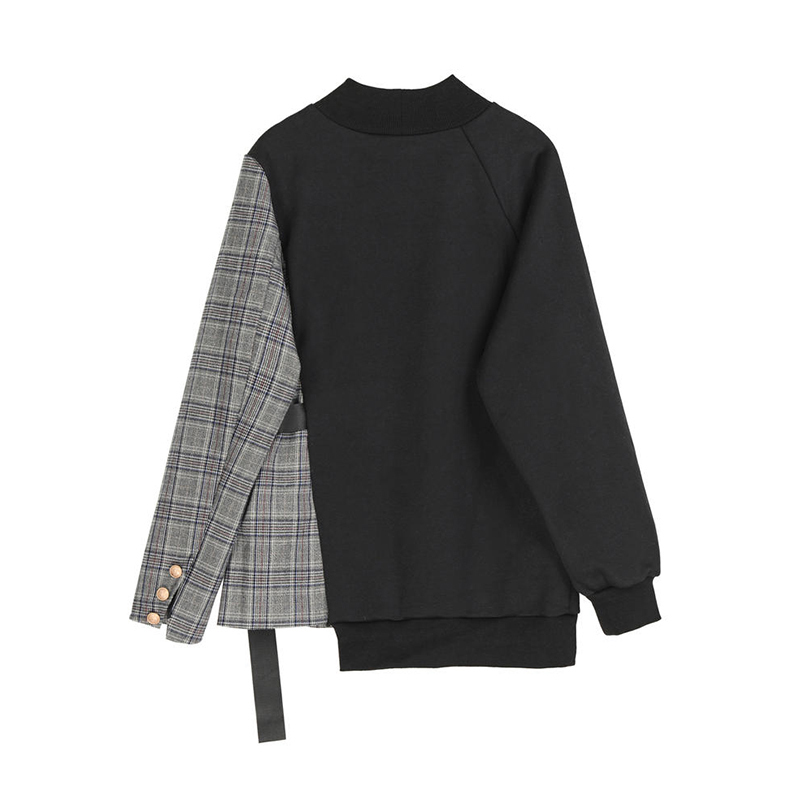 [EAM] Loose Black Plaid Ribbon Irregular Sweatshirt New Round Neck Long Sleeve Women Big Size Fashion Spring Autumn 2020 1Z261 2