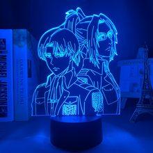 Ataque em titan levi ackerman acrílico lâmpada 3d hange zoe para decoração do quarto de casa luz criança presente zoe hange led noite luz anime