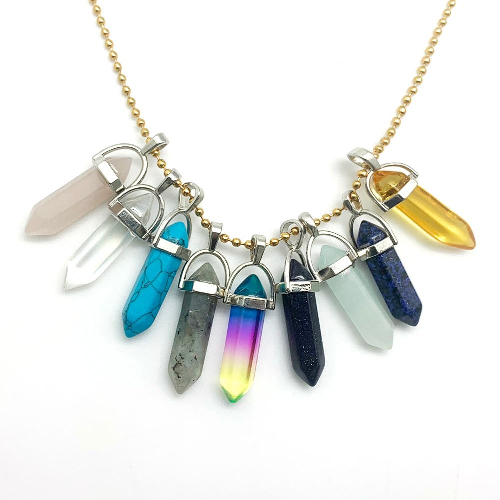 Ожерелье с подвеской из натурального камня, шестигранная пуля, Золотая, серебряная цепочка из нержавеющей стали, ожерелье roseквартал для жен...