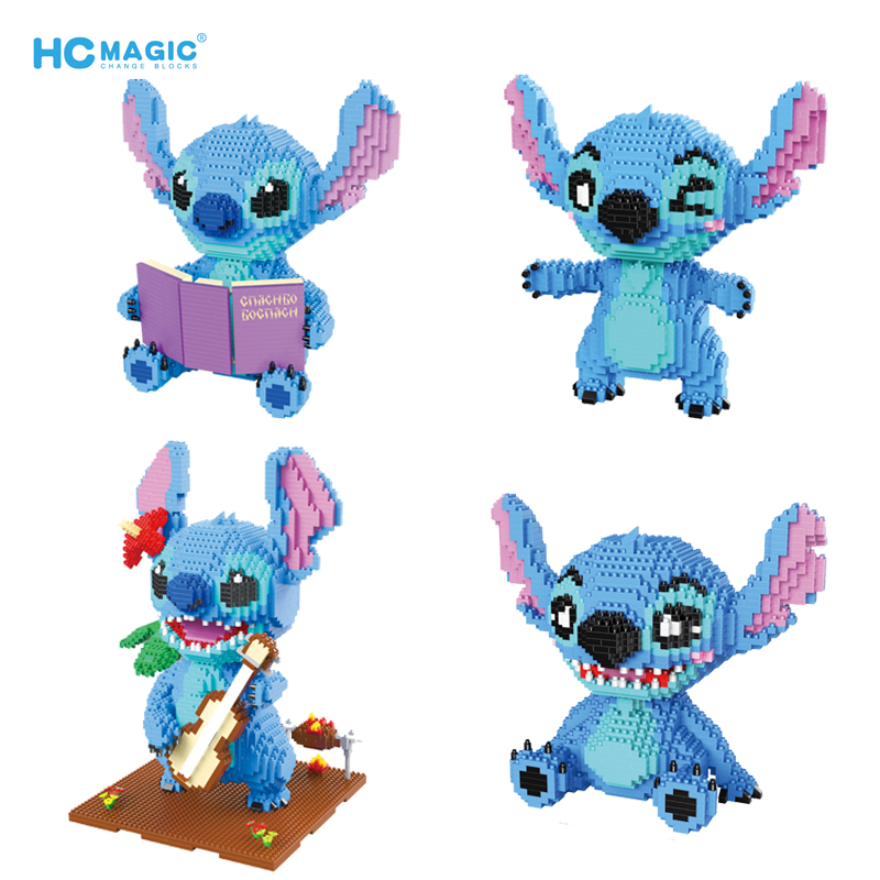 1729pcs+ HC Wink Guitar Stitch Diamond Block Funny Mirco Stitch Figure Cute Reading 3D Model Toys For Building Bricks