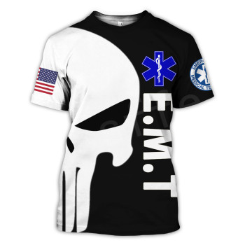 Tessffel Emergency Medical Service Technician EMT EMS Paramedic Hero New Fashion Unisex Casual 3DPrint Short Sleeve T-Shirts s-6 2