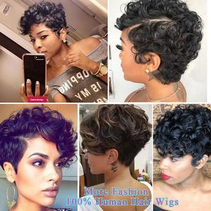 Image 5 - HANNE 100% Human Hair Wigs Short Wet and Wavy Remy Wig Short Curly Pixie Cut with Bangs Black Brazilian Hair None Lace Wig