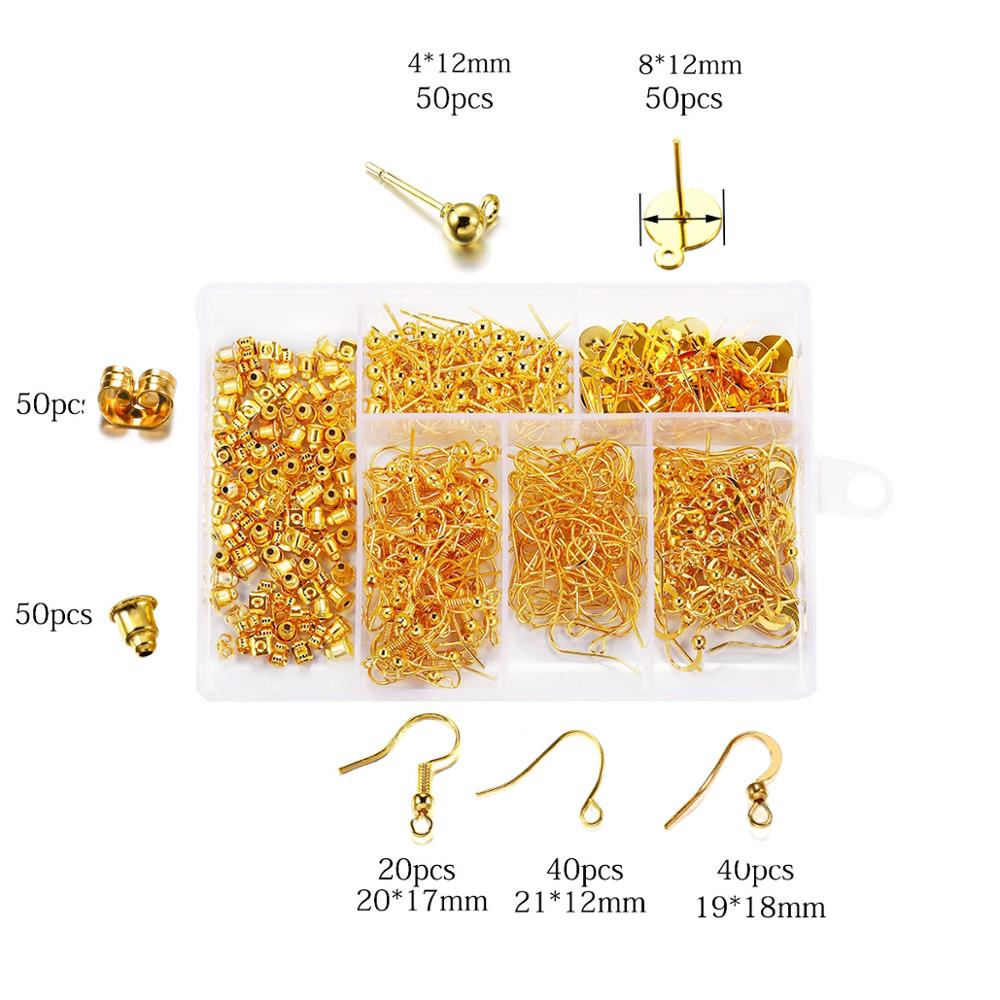 300pcs 4Color Jewelry Findings Set Necklace Chain Earring Hook Wire Jewelry Needle Mixed Style Jewelry Making Supplies Kits