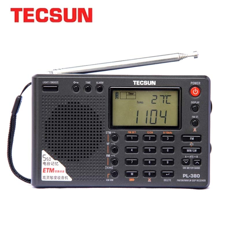 Tecsun PL-380 Full Band Radio Digital Demodulation Stereo PLL Portable Radio FM /LW/SW/MW DSP Receiver Internet Radio