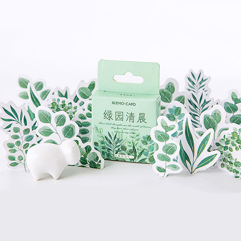 45Pcs Kawaii Stationery Stickers Cute Plant Stickers Green Sticker For Kids DIY Decor Scrapbooking Diary Albums Supplies