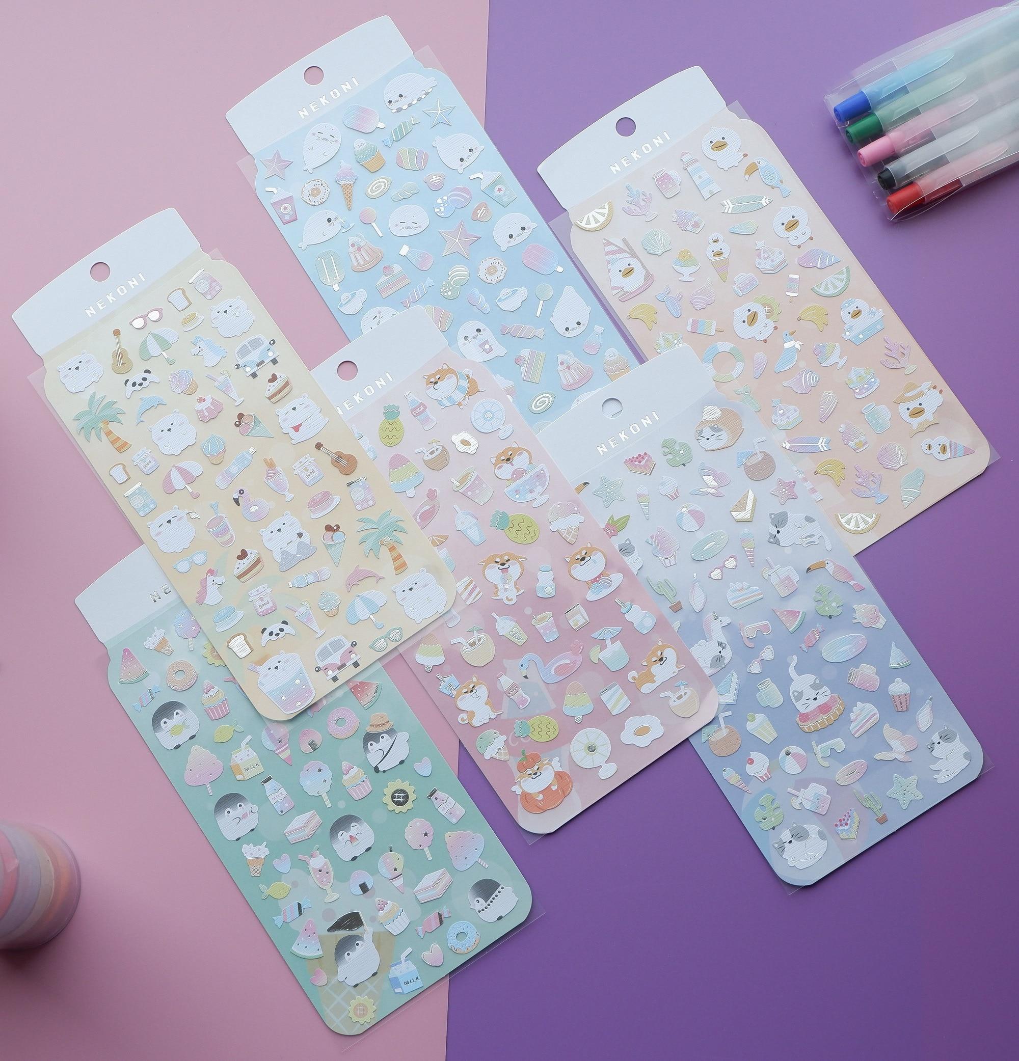 Animal Cold Drink Ice Cream Kawaii Bullet Journal Plane Decorative Stationery Stickers Scrapbooking DIY Diary Album Stick Label
