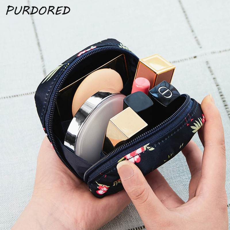 PURDORED 1 Pc Cartoon Mini Cosmetic Bag Waterproof Women Makeup Bag Travel Makeup Pouch Lipstick Organizer Case Trousse Neceser