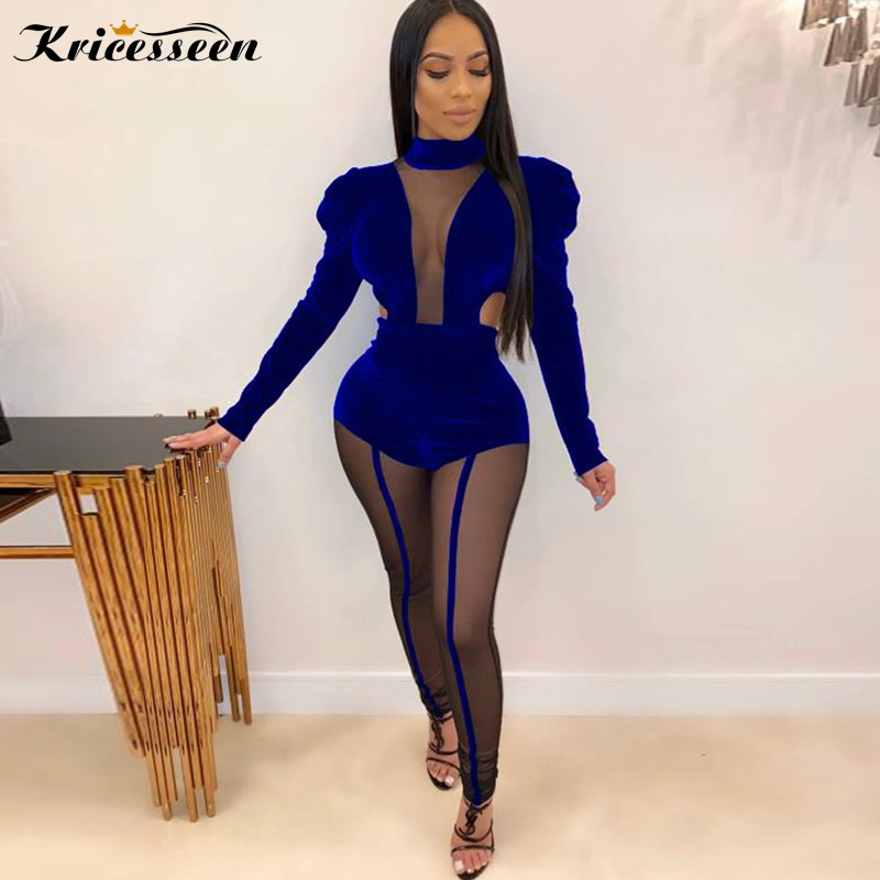 Kricesseen Sexy Women Velvet Mesh Patchwork Skinny Jumpsuit Ladies Puff Sleeve Party Club Overalls One Piece Rompers Jumpsuit title=
