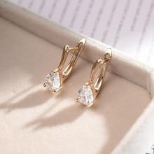 цена на MAIKALE Simple Waterdrop Stud Earrings Cubic Zirconia Heart CZ Gold Silver Color Stud Earrings for Women Korean Fashion Gifts