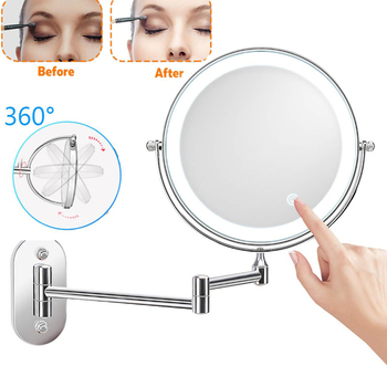 Wall Mounted Bathroom Mirror Led Makeup Mirror 10X Magnification Adjustable Wall Mirror Touch Dimming Double Sided Mirror bath mirror led cosmetic mirror 1x 3x magnification wall mounted adjustable makeup mirror dual arm extend 2 face bathroom mirror