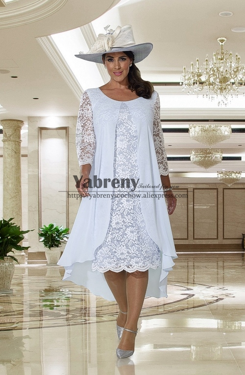 Comfortable Plus size Mother of the bride dress Sky blue