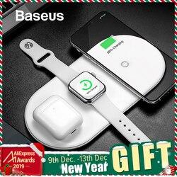 Беспроводное зарядное устройство Baseus для iPhone X XS MAX XR 8 быстрая Беспроводная Полная нагрузка 3 в 1 Зарядная площадка для Airpods 2019 Apple Watch 4 32