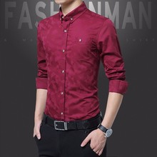 Shirt Office-Work Purple Men Clothing Slim-Fit Stretch Long-Sleeve Male Formal Casual