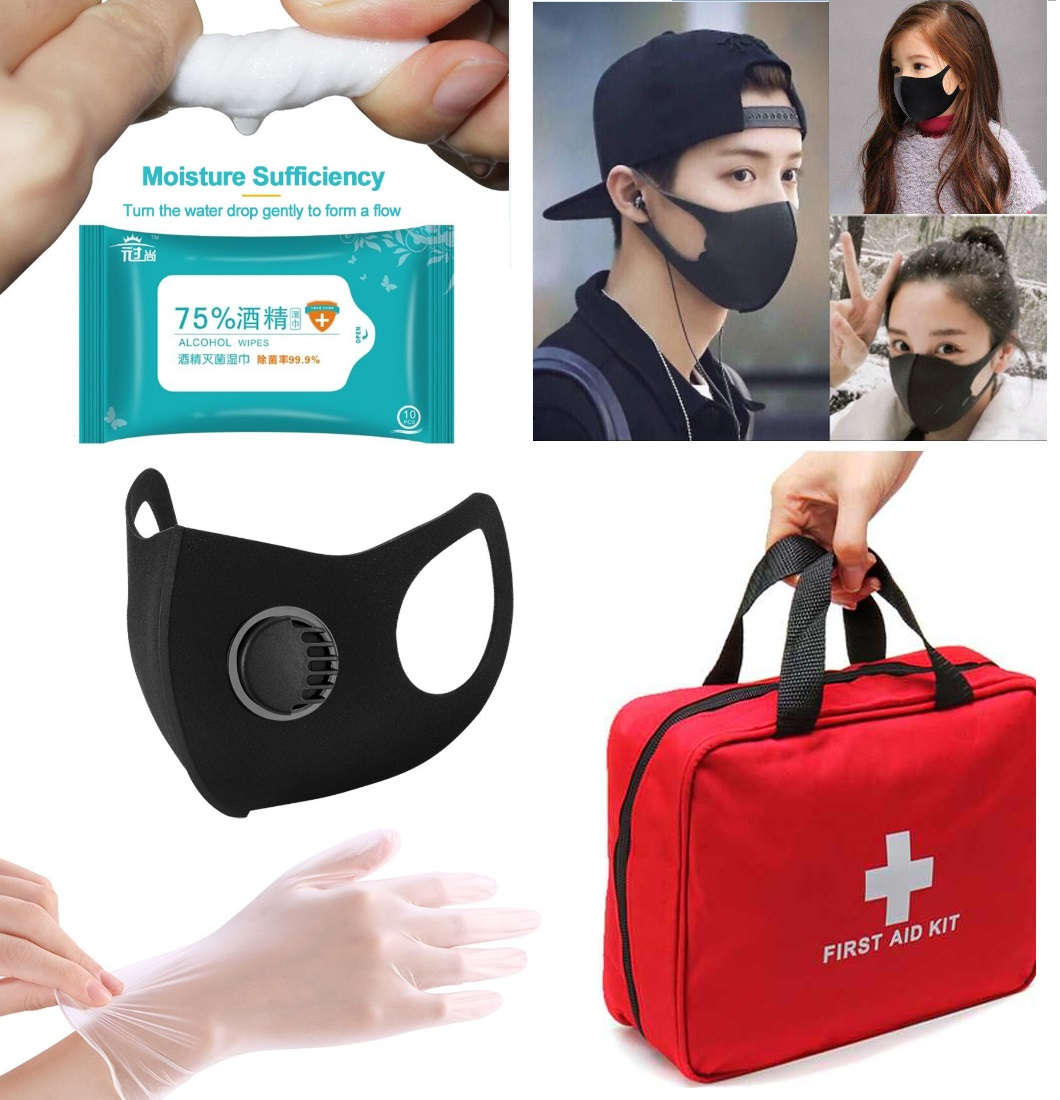 First Aid Kit Face Mask Mouth Muffle With Value Fliter PVC Disposable Gloves Disinfection Wipe Anti Flu Family Outdoor Accessary