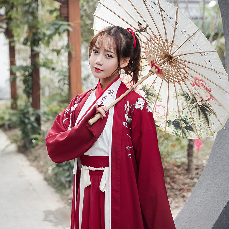 2020 Chinese Traditional Red Hanfu Cotton Women Vintage Han Element Skirt Elegant Costume Dynastie Tang Clothing Mantle Cover