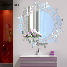 SEEAN 3D Stereoscopic Mirror Environmental Protection Removable Wall Decoration Modern Wallpaper Sticker Room Decor