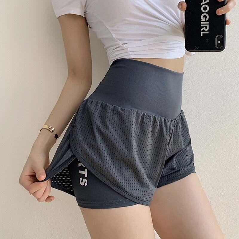 Women Mesh Yoga Shorts Summer High Waist Running Shorts Quick Dry Gym Loose Wide Leg Fitness Shorts Gym clothing Sport9s