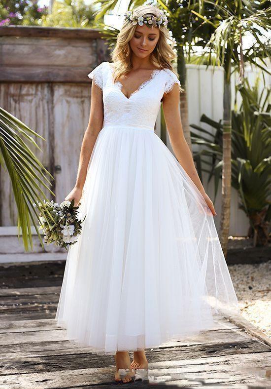 Vintage Short Vestido De Novia Lace Modest Cap Sleeve V-neck Bohemian Beach Garden Bridal Gowns 2018 Mother Of The Bride Dresses
