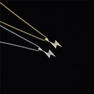 Image 5 - ゴールドシルバー色アイスボルトネックレスファッションaaaジルコンペンダント雷ペンダントジュエリーメンズヒップホップチェーンドロップ無料