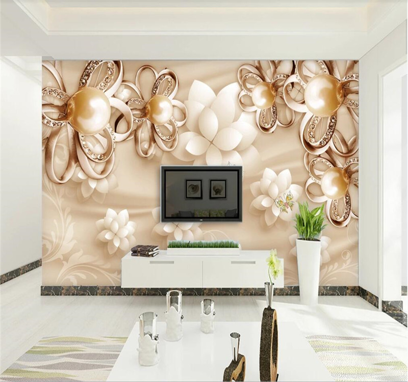Custom Wallpaper Golden Pearl Flower High-end Luxury Jewelry Background Wall-high-end Waterproof Material