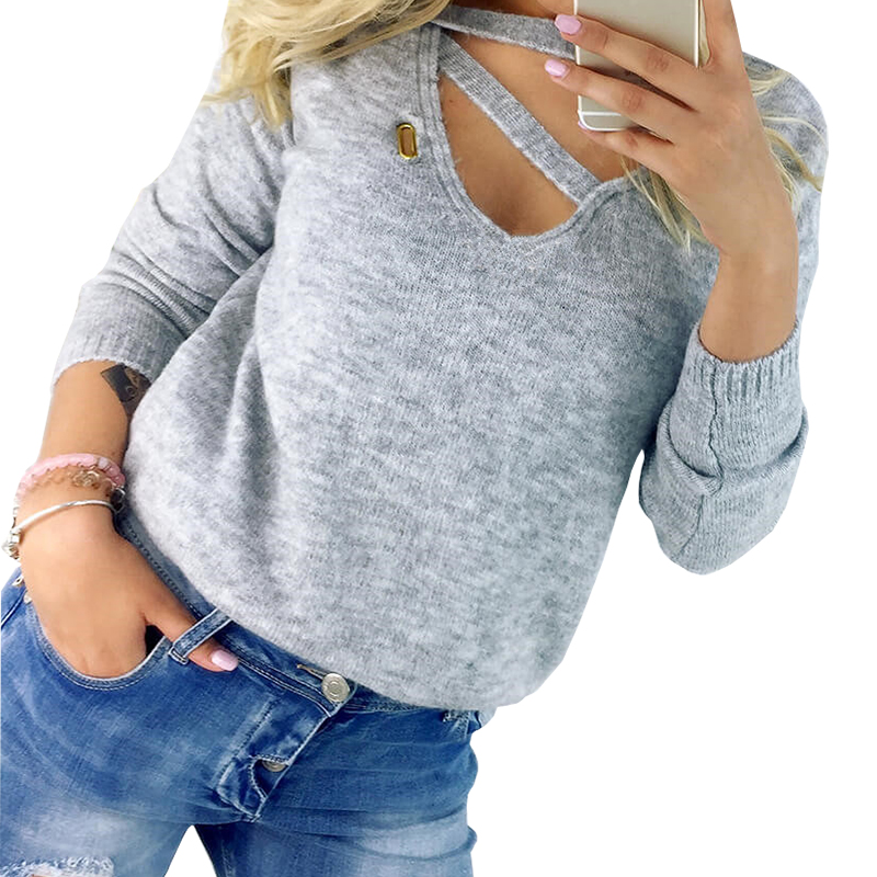 Women Shirt  Autumn Winter Shirt Tunic Long Sleeve Casual Top Fashion V Neck Blusas Sexy Tops Solid Hollow Out Basic GV059