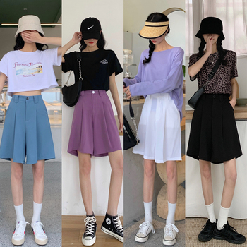 straight loose 2020 new  Women Shorts Solid Black Wide short Pants Students Casual Oversized Streetwear High Waist Mini Short