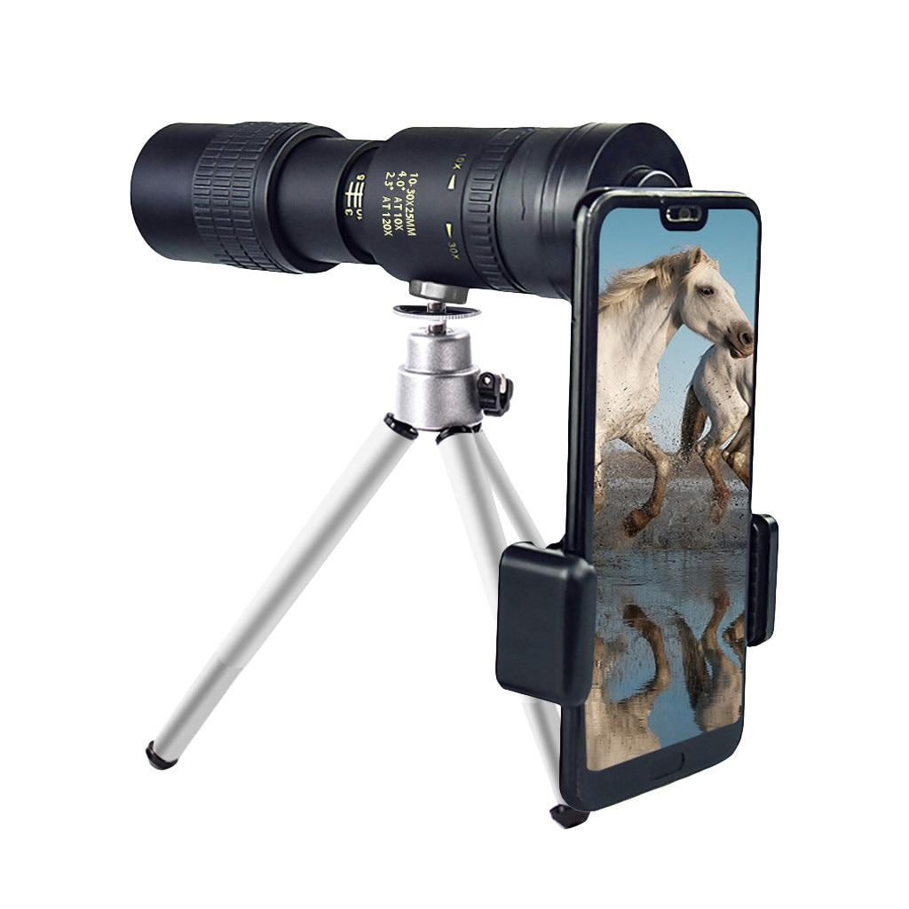 Портативный монокулярный телескоп 4k 10-300x 40 мм с зумом, монокулярный телескоп с зумом + штатив + зажим, объектив для мобильного телефона, качес...