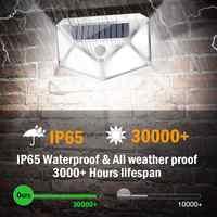 Duvar lambası sokak lambası geçit ışıkları ev açık hareket sensörü 100LED güneş su geçirmez beyaz 3.0 modları çevre dostu dayanıklı