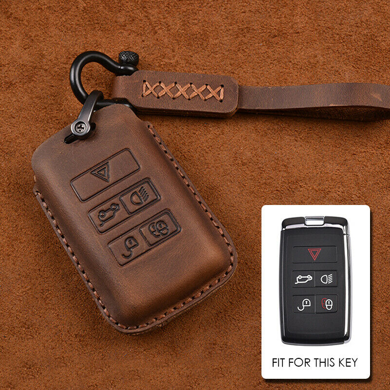 New Leather Smart Key Case Cover Fit for Land Rover LR4 Range Rover Sport Freelander 2 Discovery Jaguar E-Pace XF XJL XK XE XJ