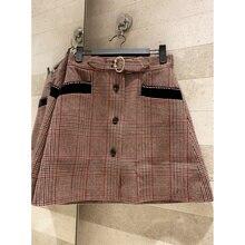 Mini falda a cuadros de mujer 2019 de invierno de alta calidad salvaje de moda de strass cinturón falda de lana