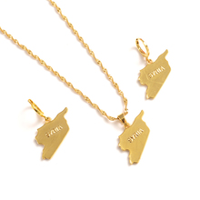 gold Syria map Jewelry Sets  Earring Necklace chain Jewelry Sets for Women girls souvenir wedding bridal gift bridal jewelry sets wedding necklace earring for brides party accessories gold plated crystal decoration women