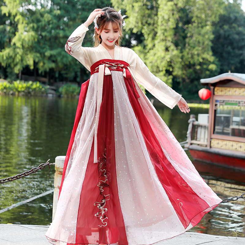 Chinese Folk Dance Dress Oriental Hanfu Traditional Chinese Ancient Princess Clothing For Women Hanfu Cosplay Fairy Dress DL4464