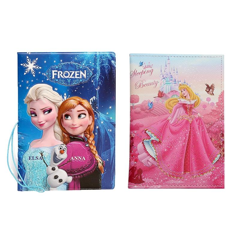 Delicate Cartoon Elsa Anna Princess Lady's Passport Holder Girl PU Leather Travel Passport Cover Case Ticket Credit Card Holder