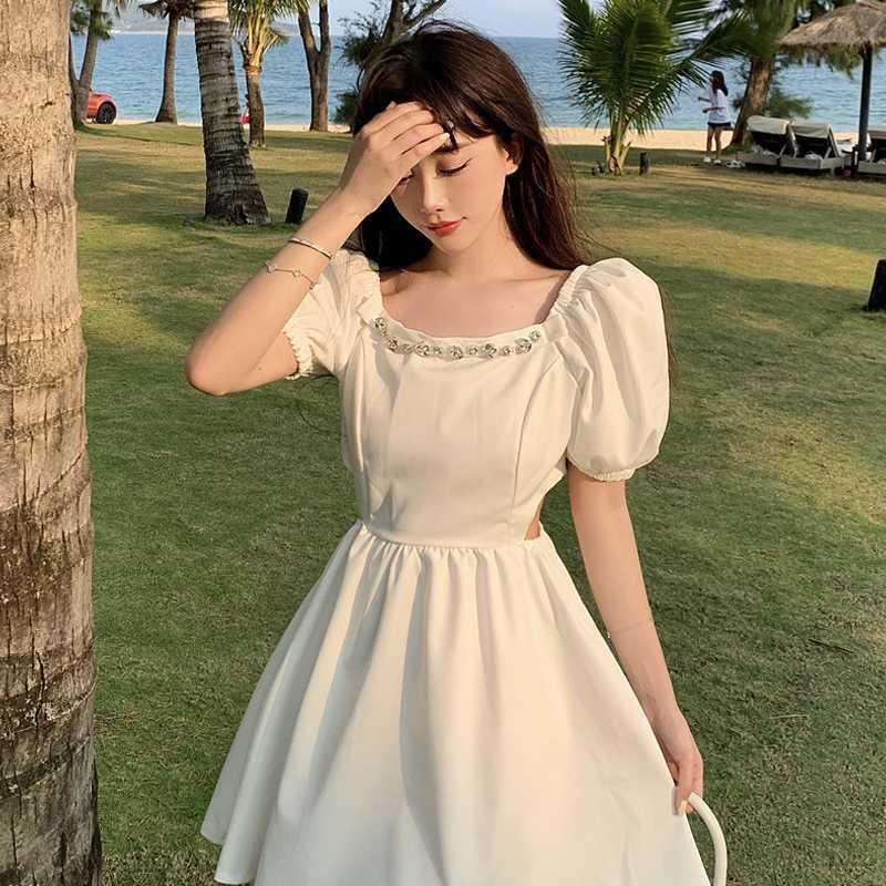 Пикантные вдохновляющие наряд до талии квадратный воротник платье для женщин новые летние ретро с пышными рукавами Высокая талия темперам...