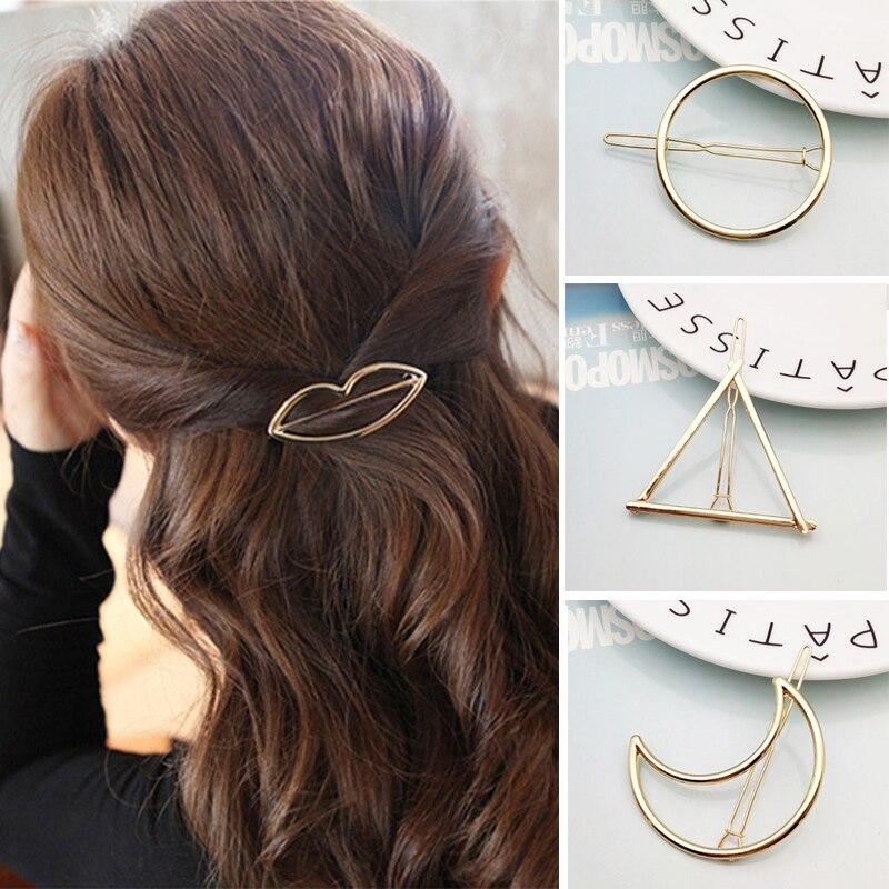 Fashion Hair Accessories Hollow Geometric Hair Clip For Women Elegant Snap Hairclip Moon Star Metal Barrette Girls Headwear